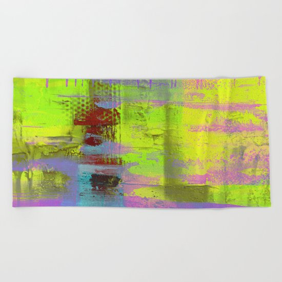 Abstract Thoughts 3 - Textured painting Beach Towel