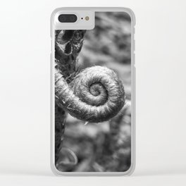 Curled Up Fern Ready for New Life in Spring Clear iPhone Case