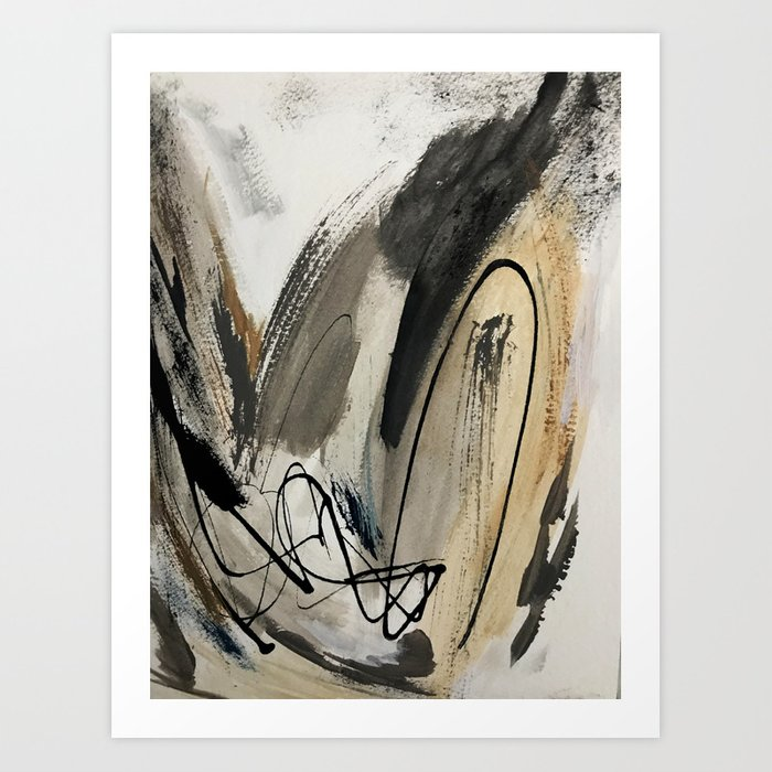 Drift [5]: a neutral abstract mixed media piece in black, white, gray, brown Kunstdrucke