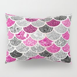 Pink, Silver and Cranberry Mermaid Scales Pattern Pillow Sham