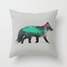 Fox In The Aurora Borealis Throw Pillow