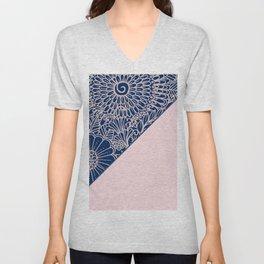 Blush pink navy blue hand drawn modern floral Unisex V-Neck