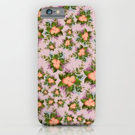Watercolor Flowers on Mauve Background iPhone Case