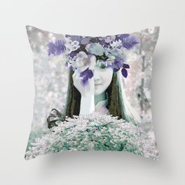 The girl with flowers Throw Pillow