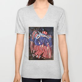 Uncle Sam Descending a Staircase By JAco Unisex V-Neck