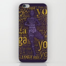 Yoga Pattern around Asana in Gold and Purple iPhone Skin