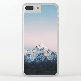 Blue & Pink Himalaya Mountains Clear iPhone Case
