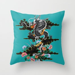 Dragon in Clouds with Peonies Motif Throw Pillow