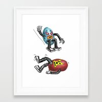 wrestling Framed Art Prints featuring wrestling eggs by ronnie mcneil