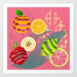 Apple, Orange and Lemon Art Print