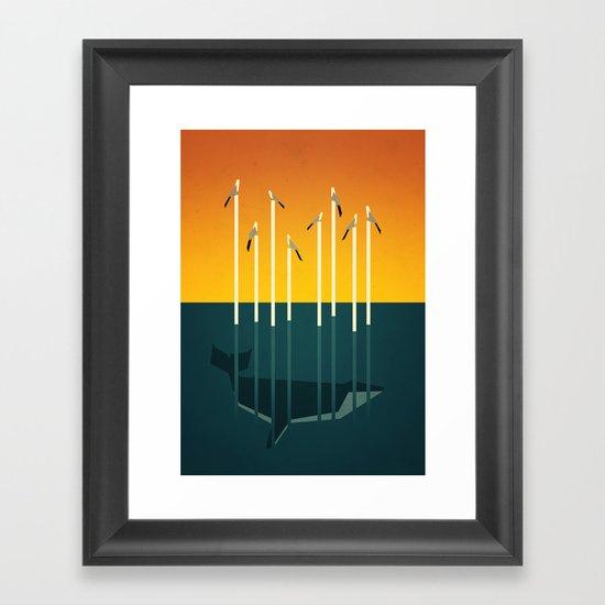 Seagulls and a whale Framed Art Print