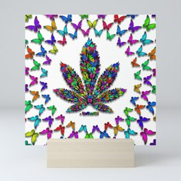 Butterflies Cannabis Leaf 2 Mini Art Print