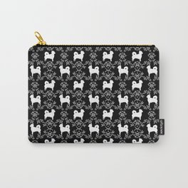 Chihuahua long haired black and white floral silhouette pattern dog breed art Carry-All Pouch