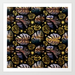 Brisbane River Tropical Leaf Pattern Art Print