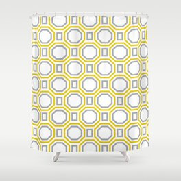 Gold Harmony in Symmetry Shower Curtain