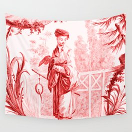Chinoiserie Toile in Red Wall Tapestry