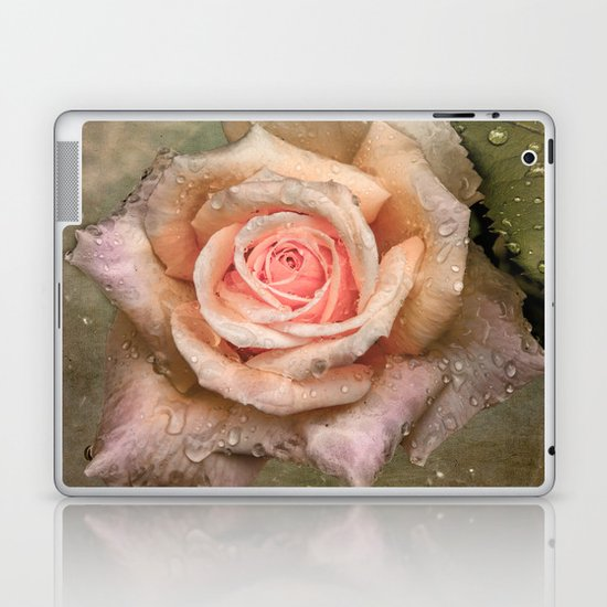 Vintage rose with water drops Laptop & iPad Skin