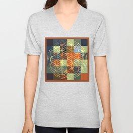 Flower Of Life Modern Squares Mosaic Unisex V-Neck