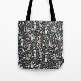Cute rabbits (dark blue) Tote Bag
