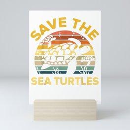 Save Sea Turtle Lover Shirt Vintage Skip a Straw Ocean Gift Mini Art Print