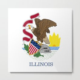 flag illinois,america,usa,midwest,Land of Lincoln,Prairie State,Illinoisan,Chicago,Aurora,Rockford Metal Print