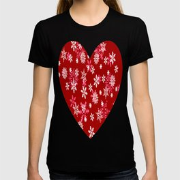 Red Heart Of Snowflakes Loving Winter and Snow T-shirt