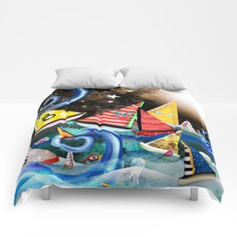 Night Sailing - Aurora Art Moonlight Stars Night Comforters