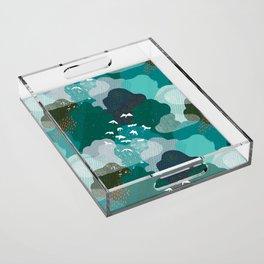 M+M Emerald Forest Bird's Eye View by Friztin Acrylic Tray