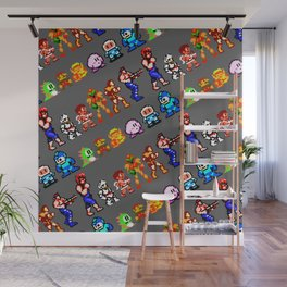 8-bit heroes (NES) | grey | retrogaming nostalgia Wall Mural