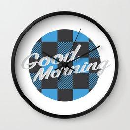 Good Morning in Blue Wall Clock
