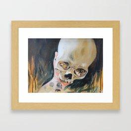 me holding my skull Framed Art Print