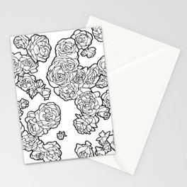 Peonies and Roses, Ink artwork Stationery Cards