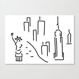new York the Statue of Liberty skyscraper Canvas Print