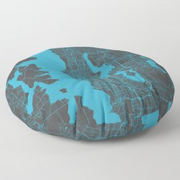 Seattle map blue Floor Pillow