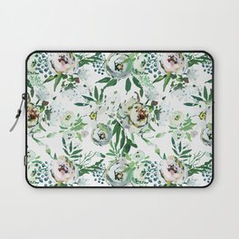 Green blush pink watercolor modern elegant floral Laptop Sleeve