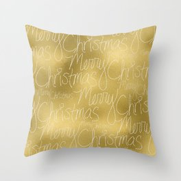 Merry christmas- christmas typography on gold pattern Throw Pillow