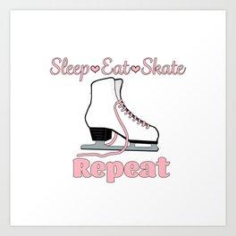 Sleep-Eat-Skate-Repeat in Pink Design Art Print
