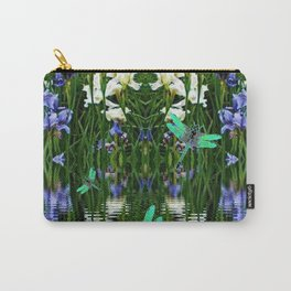 TURQUOISE DRAGONFLIES IRIS WATER REFLECTIONS Carry-All Pouch