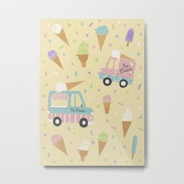 Ice Cream Trucks and Treats Metal Print