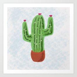 Charcoal cactus in a pot Art Print