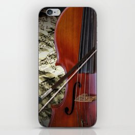 Cello with Bow a Stringed Instrument with Classical Sheet Music iPhone Skin