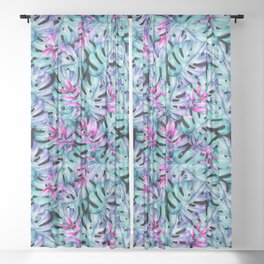 Blue Pink Tropical Leaves Pattern Sheer Curtain