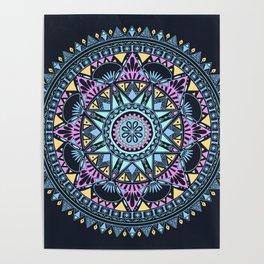 Blue Bohohemian Pattern Poster