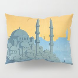 Mid Century Modern Travel Vintage Poster Istanbul Turkey Grand Mosque Pillow Sham