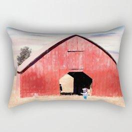 Boy and a Barn #digitalpainting Rectangular Pillow