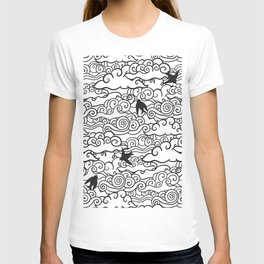 Doodle clouds and swallows. Cloudscape pattern with birds. T-shirt