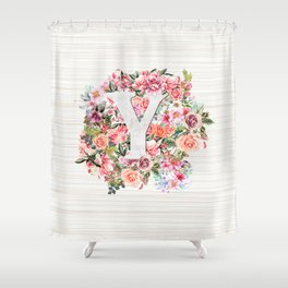 Initial Letter Y Watercolor Flower Shower Curtain