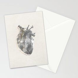 golden polygon heart Stationery Cards