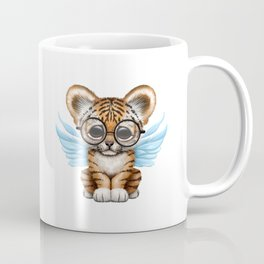 Tiger Cub with Fairy Wings Wearing Glasses on Blue Coffee Mug