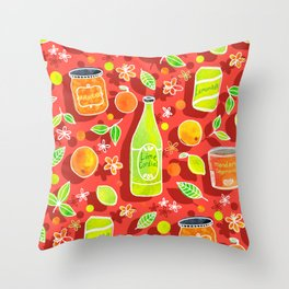 Lively Citrus Pop Art on Coral Red Throw Pillow